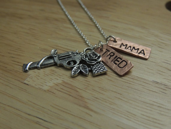 Mama Tried Hand Stamped Necklace with Pistol Country Inspired Hammered Copper Tag