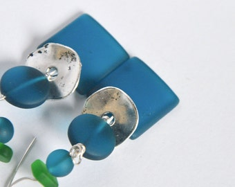 FASHION Eco-friendly by Cuorerosso Mint,  Boho green and blue teal earrings, recycled glass, silver