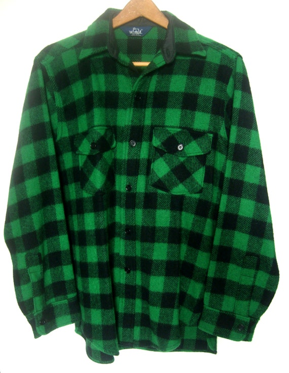 Men 39 S Vintage Woolrich Plaid Green Lumberjack Shirt Jacket