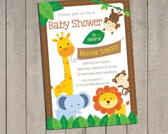 diy safari baby shower printable party invitation x monkey, invitation samples