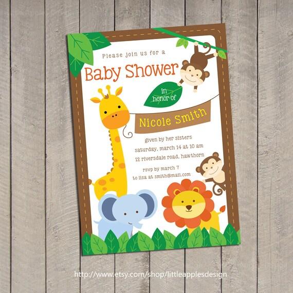 Safari bebé ducha invitación / Jungle Safari bebé ducha