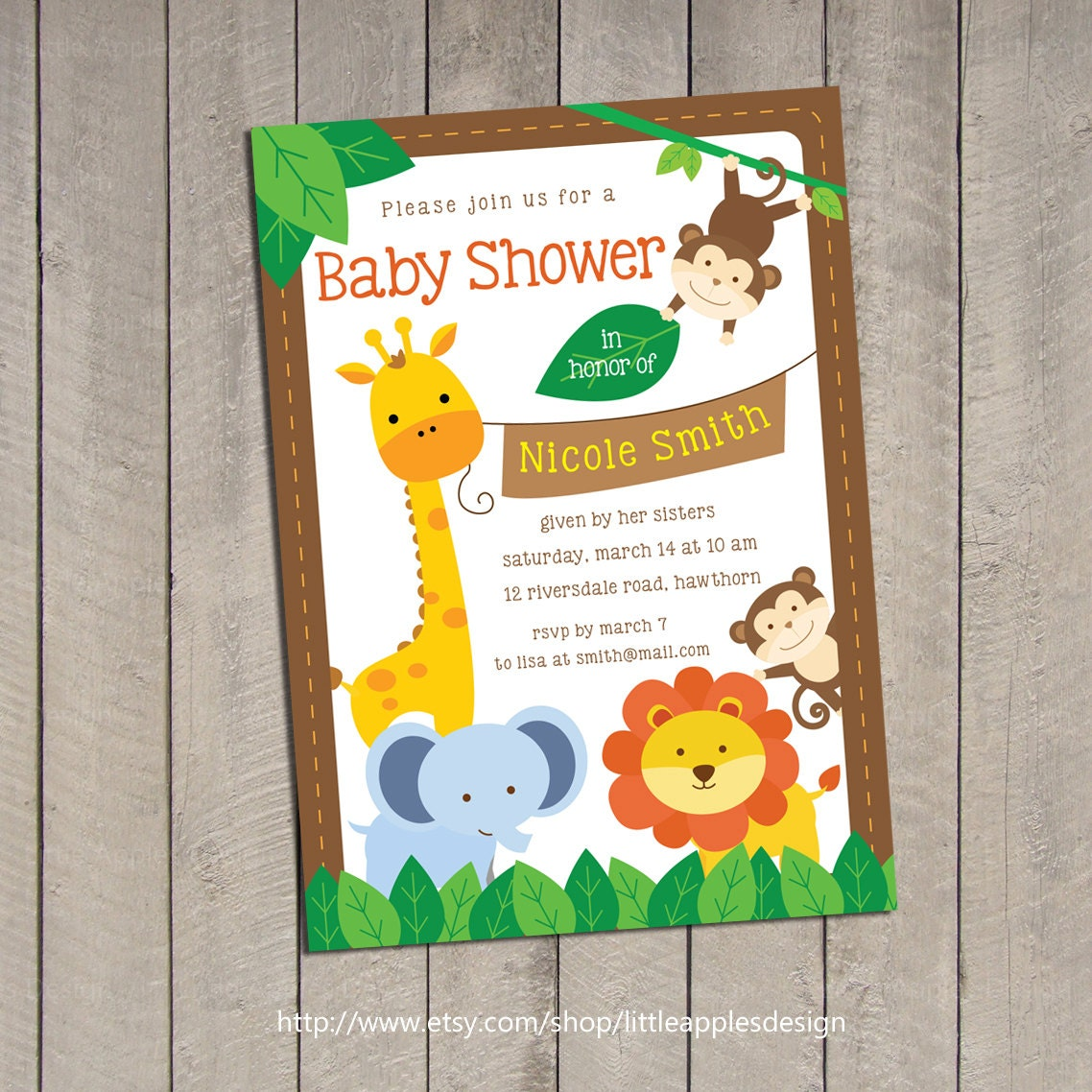 Safari Baby Shower Invitation / Jungle Safari Baby Shower