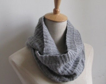light gray cowl scarf,grey cowl scarf, hand knit cashmere cowl  scarf