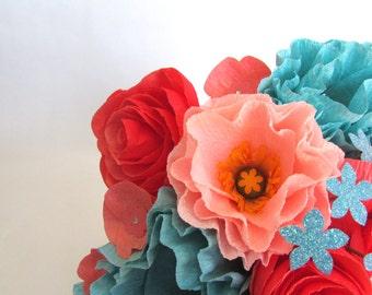 Coral & Turquoise Bridal Bouquet, Paper Bouquet, Paper flower bouquet