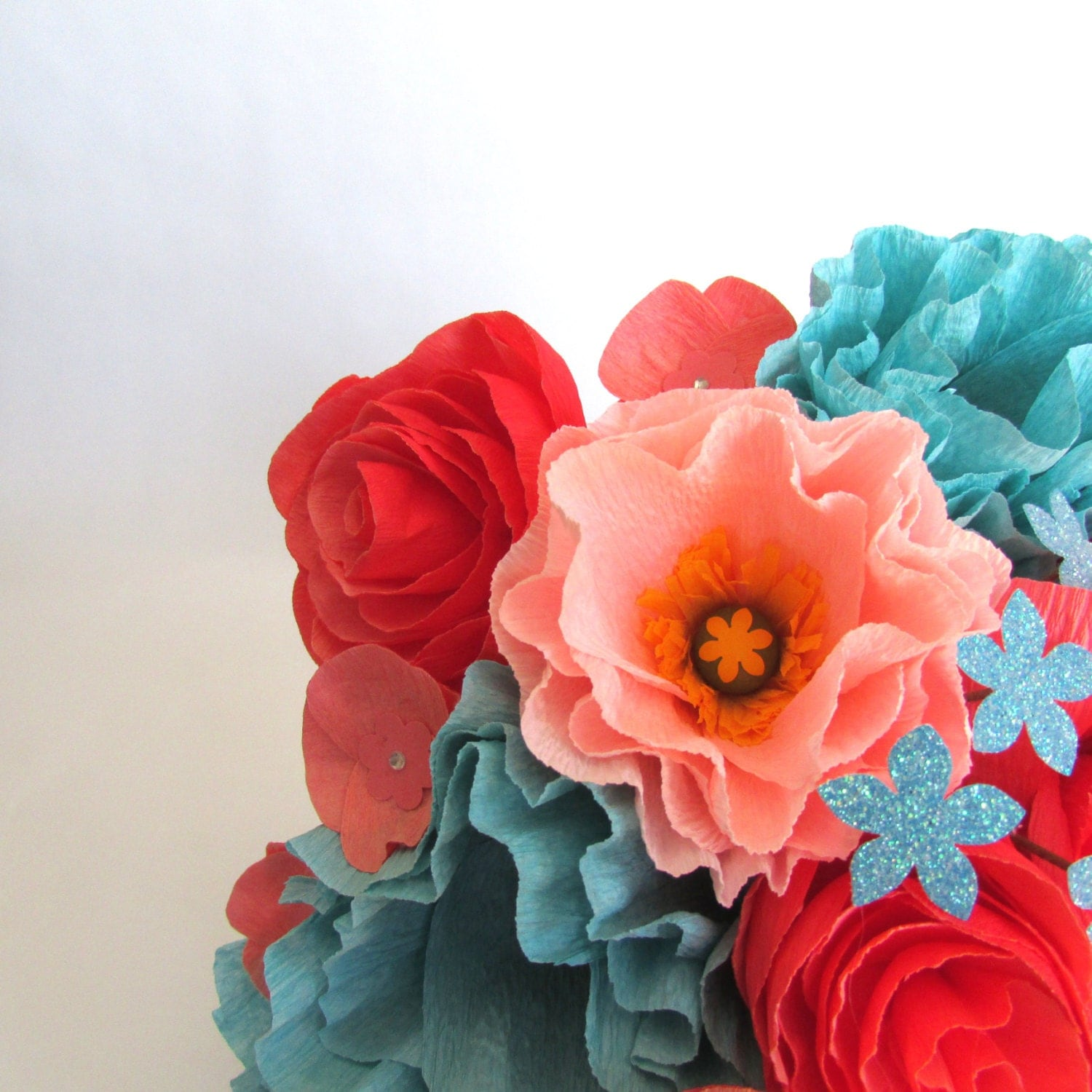 Turquoise Flowers For Wedding: Coral & Turquoise Bridal Bouquet Paper Bouquet By