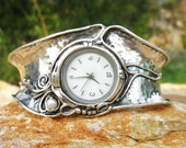 Handcrafted 925 Sterling Silver Watch, Cuff Bracelet, Pearl, Unique Design by Poran, Artistic Jewelry, Made In Israel