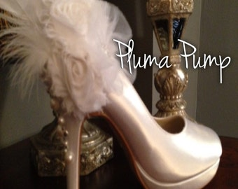 Platform Bridal Shoe Beautifully Accented with Feathers  And Chiffon Rosettes