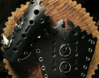Large Black Claw Lace Up Leather Gauntlets