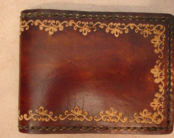 Tooled Leather Wallet - Leather Billfold - Brown SND Border