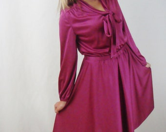 1970s Hot Pink Dress - Pink Dress - Midi Dress - Long Sleeve Dress - Mad Men Dress - Fall Dress - Mod Dress - Large Dress
