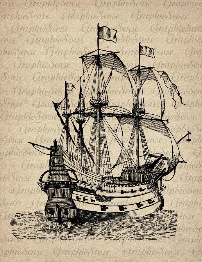 Caravel Old Sailing Ship Engraving Printable by GraphicSense