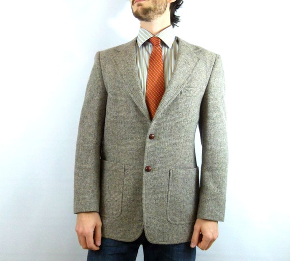 Men's Vintage Tweed Blazer with Elbow Patches / Fitted