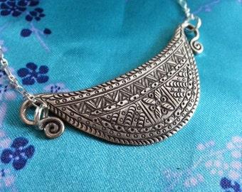 Half Moon Flower Human Spirit Soul Lock Necklace Thailand Hill Tribe Amulet Pendant Fine Silver Fair Trade Hand Made Asian Tribal Xauv