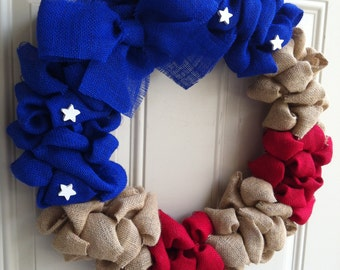 Patriotic Burlap Wreath American Flag