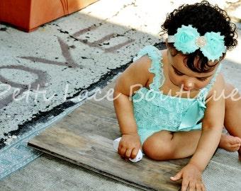 Lace romper, Aqua romper, girls romper, petti romper, 1st birthday outfit, photo prop outfit, toddlers romper, baby romper