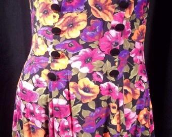 Vintage 80's Floral Garden Party Mini Dress