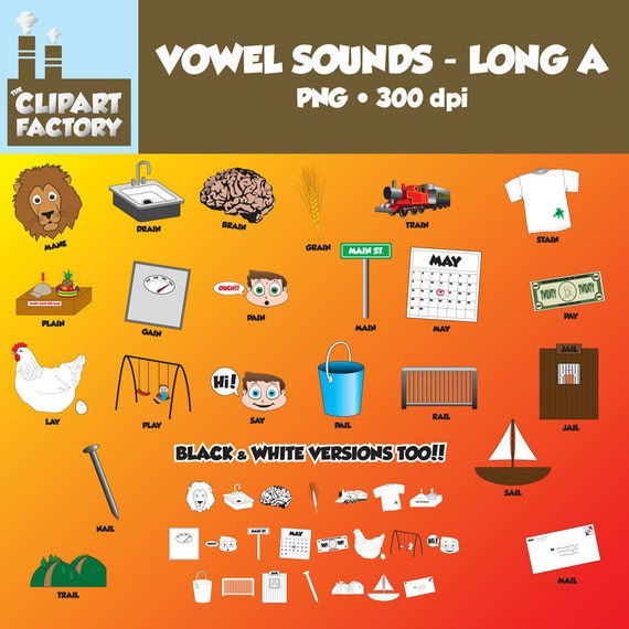 Clip Art: Vowel Sounds Long A-Images for words with long a