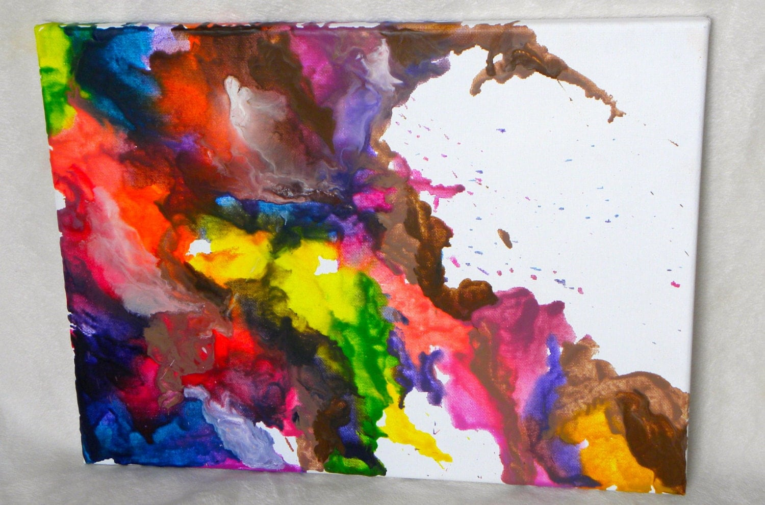 Abstract Melted Crayon Art On Canvas Multicolor