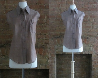 1970s sanforized button front cotton shirt