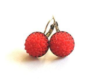 earrings spring red flower
