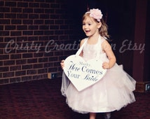 """Wedding Heart Sign - Personalized """"Here Comes Your Bride"""" Heart Sign"""