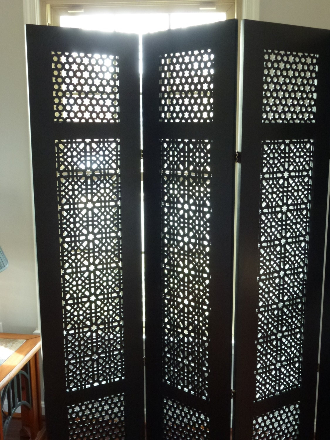 4 Panel Carved Room Divider Folding Screen By