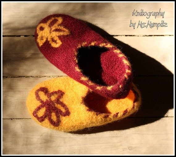 Unique Felted Slippers - Size US5/8 EU36-40, mismatched yellow and burgundy with flower applique, 100% virgin wool, knitted and felted