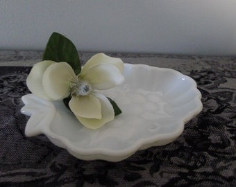 Milk glass grape dish