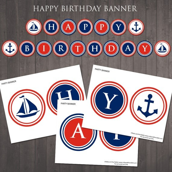 Printable nautical happy birthday banner instant printable nautical happy birthday banner instant download diy birthday banner for a nautical party pronofoot35fo Images