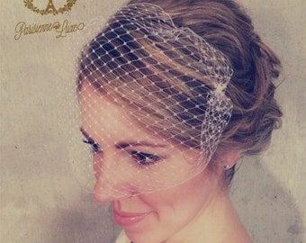 BANDEAU NETTING -birdcage veil, russian netting, blusher bandeau veil, bridal bird cage veil, wedding hair accessories, bandeau netting veil
