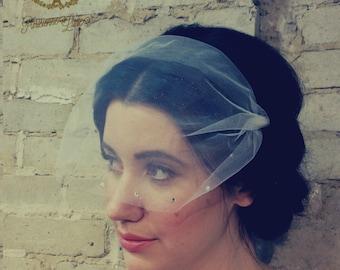 Birdcage Veil, Bridal Tulle, Blusher Bandeau Veil, Bridal Bird Cage Veil, Wedding Hair Accessories, Ivory, White, Off White, Blush,