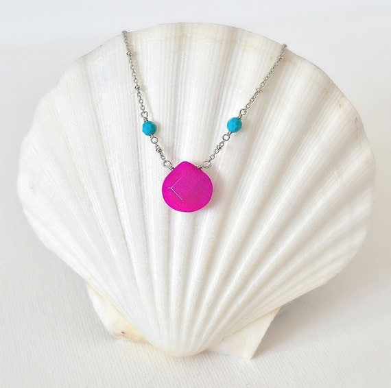 Flip Flop Season Necklace -Sterling Silver Chain Necklace with Aqua Crystals and a Fuchsia Jade Briolette