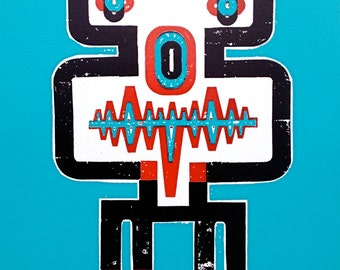"ROBOT - ANALOG, Letterpress Print, Limited Edition, 15.75"" x 23"""