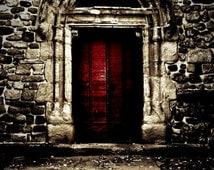 Red Church Door - Paris, France, St Etienne, Provincial Chruch, Architecture, Rustic, Warm tones, Fine Art Photograph