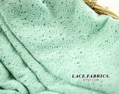 Mint Green Lace Fabric MINT Green Wedding Lace Floral by the Yard Cotton Lace - 1 Yard Style 289