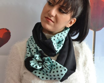 Polka Dot Scarf, Black Scarf, Teal Scarf, Double Wrap, Fashion Scarf, Womens Scarf, Handmade Scarf, Womwns Accessories, Double Color Scarf