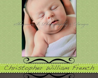 Baby Boy  Birth Announcement (Digital File) Cristopher William - I Design, You Print - Birth Announcement
