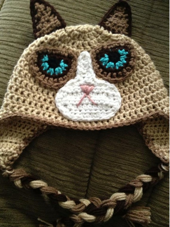 Crochet Kitty Cat Hat Pattern : Grumpy Cat Crochet Hat