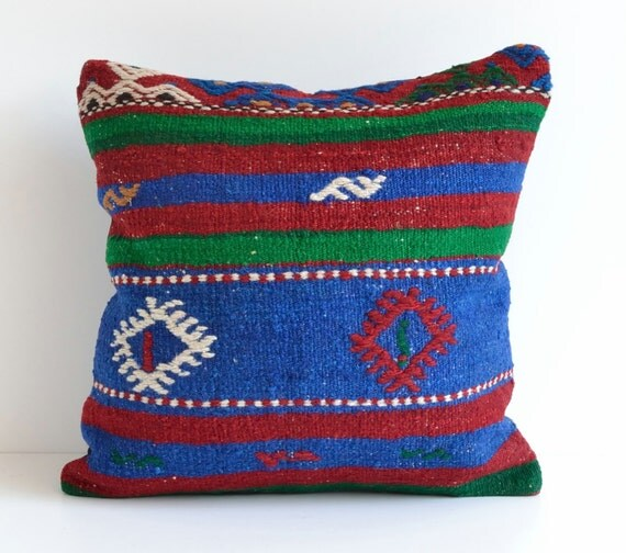 Blue Kilim Pillow Cover 18x18 Bohemian Pillow Moroccan By