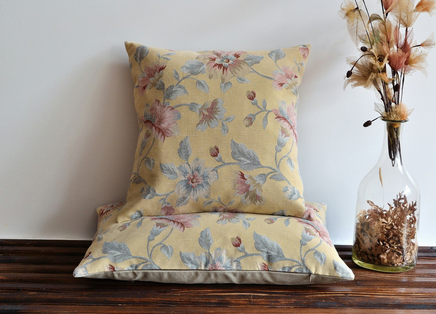 Pale Yellow Throw Pillow Cover : Pale Yellow Floral Pillow Cover Tapestry Fabric Pillow