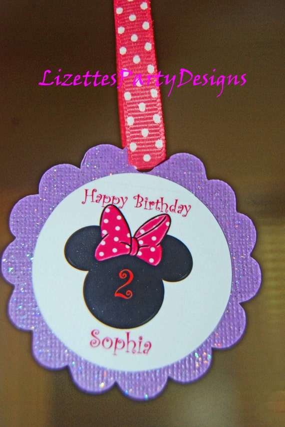 "12 Minnie Mouse 3"" Tag for Gift bags or Cakepops"