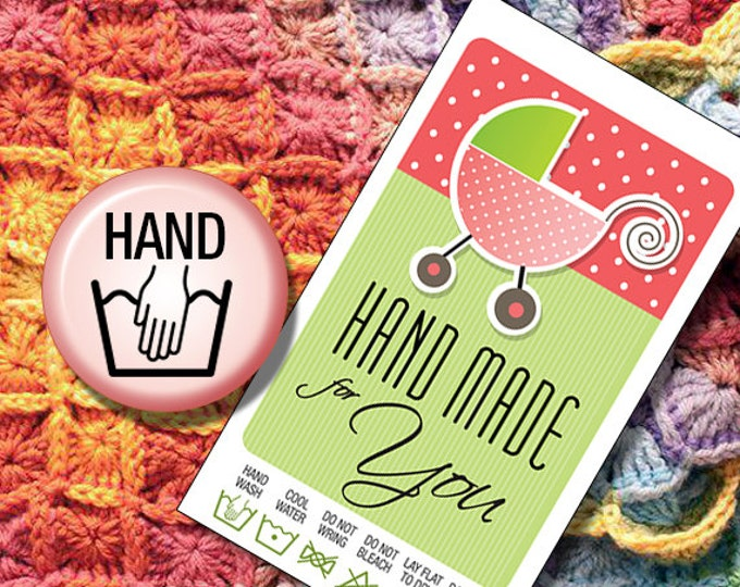Laundry Care Tags Hand Wash for Hand Made Baby Shower Gifts