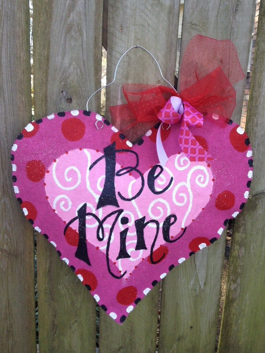 Valentine S Day Heart Burlap Door Hanger