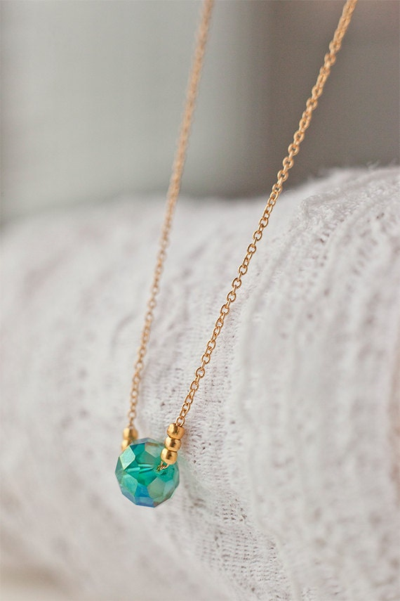 items similar to green gem bead necklace gold beaded