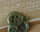 FREE SHIPPING Antique Bronze Button Charm Pendant Charms, Craft making, sewing, needlework 15mm x 14mm (50 Pieces)