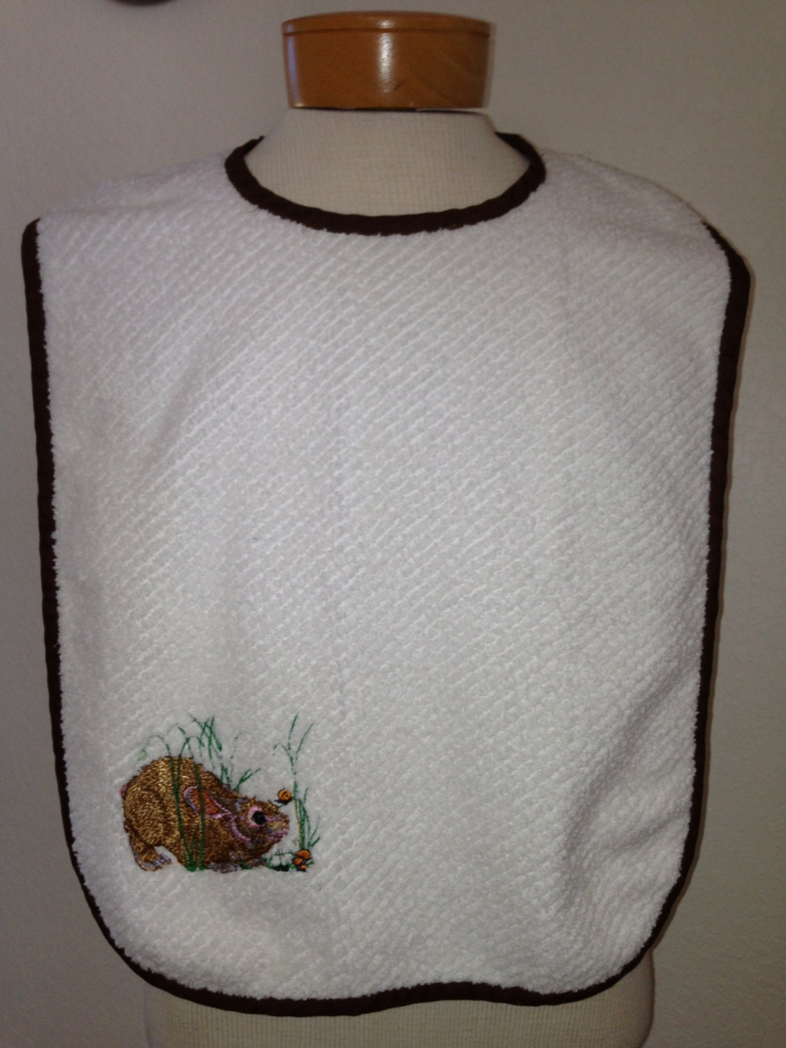 Large Adult Embroidered Terry Cloth Bibs For The Elderly