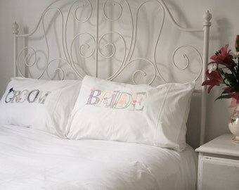 BRIDE & GROOM (His and Hers) 100% cotton pillow cases (pillowcases, slips) - standard size