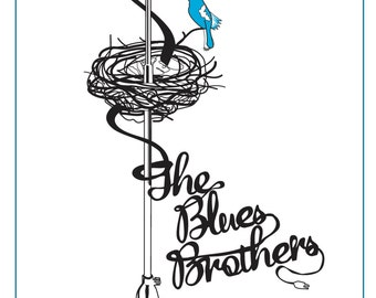 "Blues Brothers (1980) Inspired Movie Poster: ""BluesBirds"", by Cutestreak Designs. 2013."