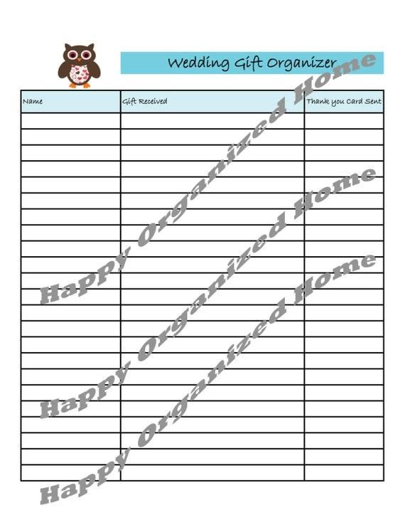 Wedding Gift Log : Owl Wedding Gift Organizer Log WD003 by HappyOrganizedHome