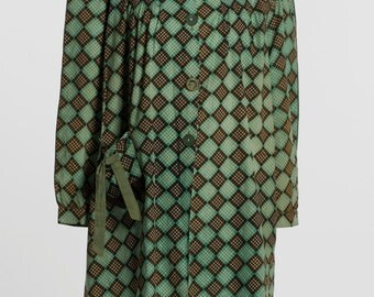 Green and Brown 1940's Smocked Jacket